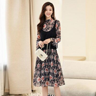 連身裙長袖洋裝(兩件套)-雪紡印花針織背心女裙裝73ri12【獨家進口】【米蘭精品】