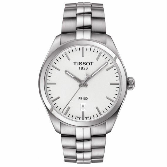 TISSOT天梭T1014101103100PR100簡約機械石英腕錶白39mm
