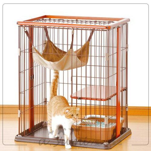 日本 BONBI 木製迷你貓籠/貓籠附貓吊床組