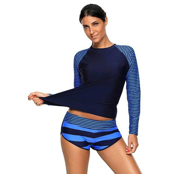 泳裝比基尼泳衣條紋拼接防曬顯瘦大尺碼兩件套長袖泳裝L-2XL【LC410474】BOBI0607