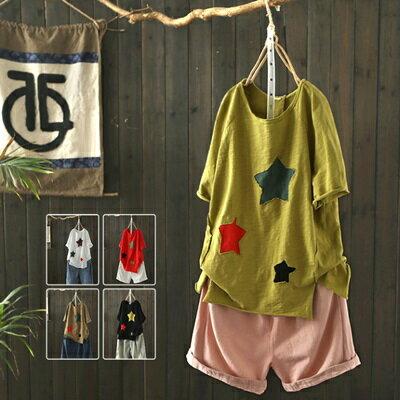 短袖T恤打底衫-時尚毛邊星星貼布女上衣5色73sj38【獨家進口】【米蘭精品】