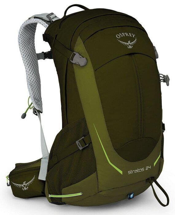 【Osprey 美國】STRATOS 24 登山背包 運動背包 健行背包 男款 鱷魚綠 (Stratos24) 【容量24L】