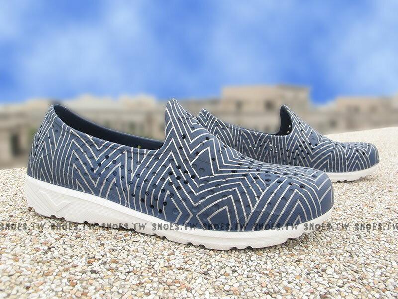 《限時特價79折》Shoestw【62U1SA61DB】PONY TROPIC 水鞋 軟Q 防水 懶人鞋洞洞鞋 深藍銀線 親子 0