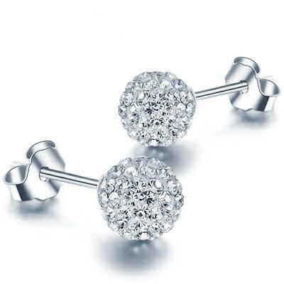 ~925純銀耳環鑲鑽耳飾~閃耀迷人 生日情人節 女飾品2色73dy186~ ~~米蘭 ~