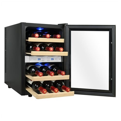 AKDY 12 Bottles Dual Zone Freestanding Reversible Doors Push Button Wine Cooler Chiller Cellar 2