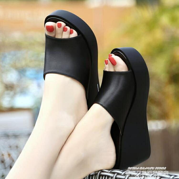 外穿拖鞋新款優足意爾康坡跟拖鞋女夏真皮高跟外出外穿涼拖鞋厚底涼鞋