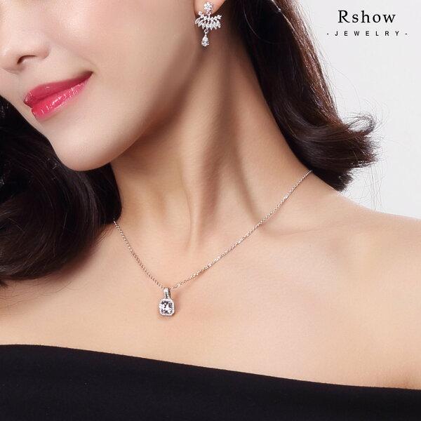 【RSHOW瑞秀】知性方形八心八箭鑲鑽項鍊★S925純銀飾品