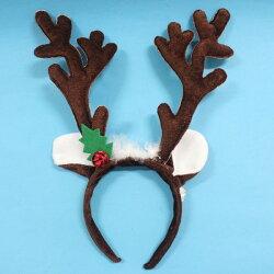 聖誕鹿角頭箍 聖誕髮箍(咖啡色+白羽毛耳朵鈴噹.絨布面)/一袋12個入{促80} 鹿角髮夾 鹿角頭飾 可愛麋鹿角 聖誕頭圈~5212.5846