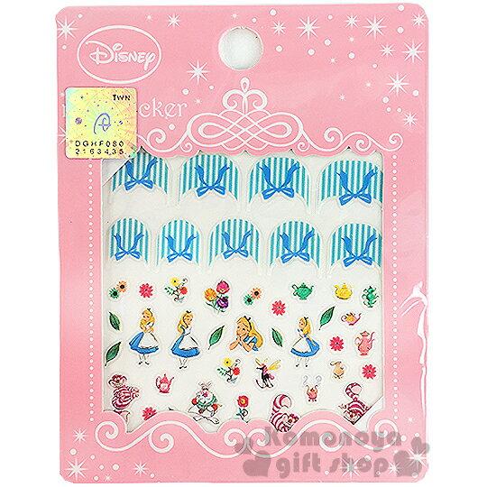 〔小禮堂〕迪士尼 愛麗絲 造型指甲貼《花.妙妙貓.蝴蝶結.粉包裝》
