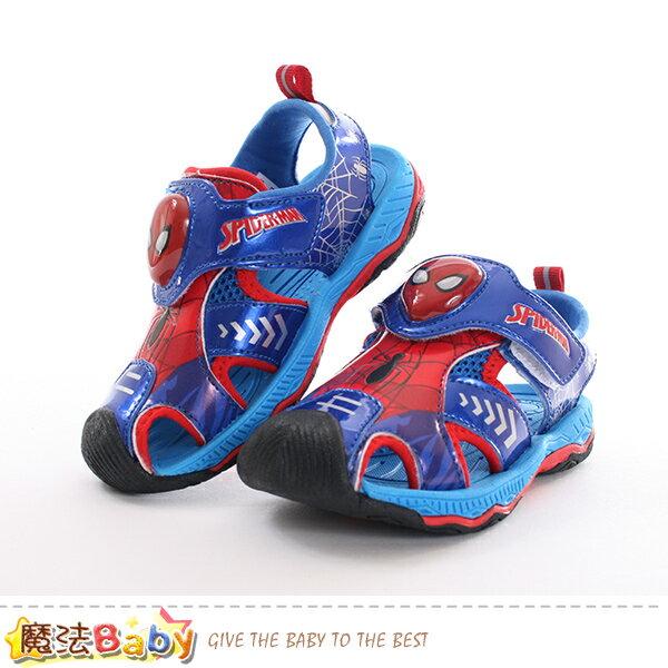 男童鞋蜘蛛人授權正版護趾閃燈運動涼鞋魔法Baby~sa89116