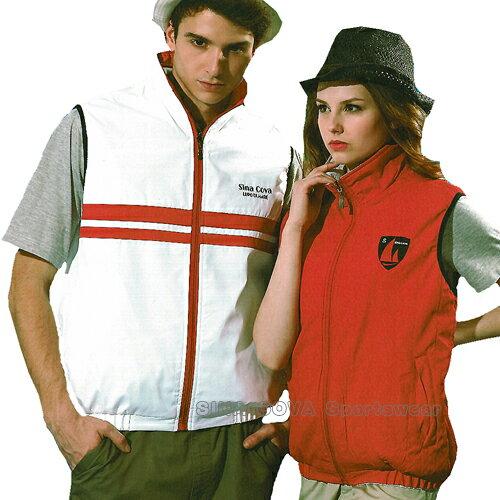 【義大利 SINA COVA】男女運動休閒雙面穿背心(白紅#S8601A) - 限時優惠好康折扣