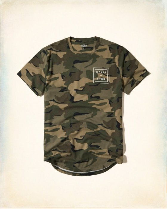 美國百分百【Hollister Co.】T恤 HCO 短袖 T-shirt 海鷗 上衣 logo 迷彩 S號 I213