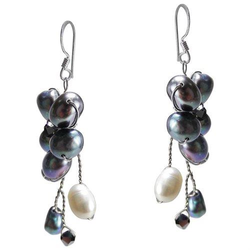 Dreamy Nature Black Pearl Flower .925 Silver Earrings 1