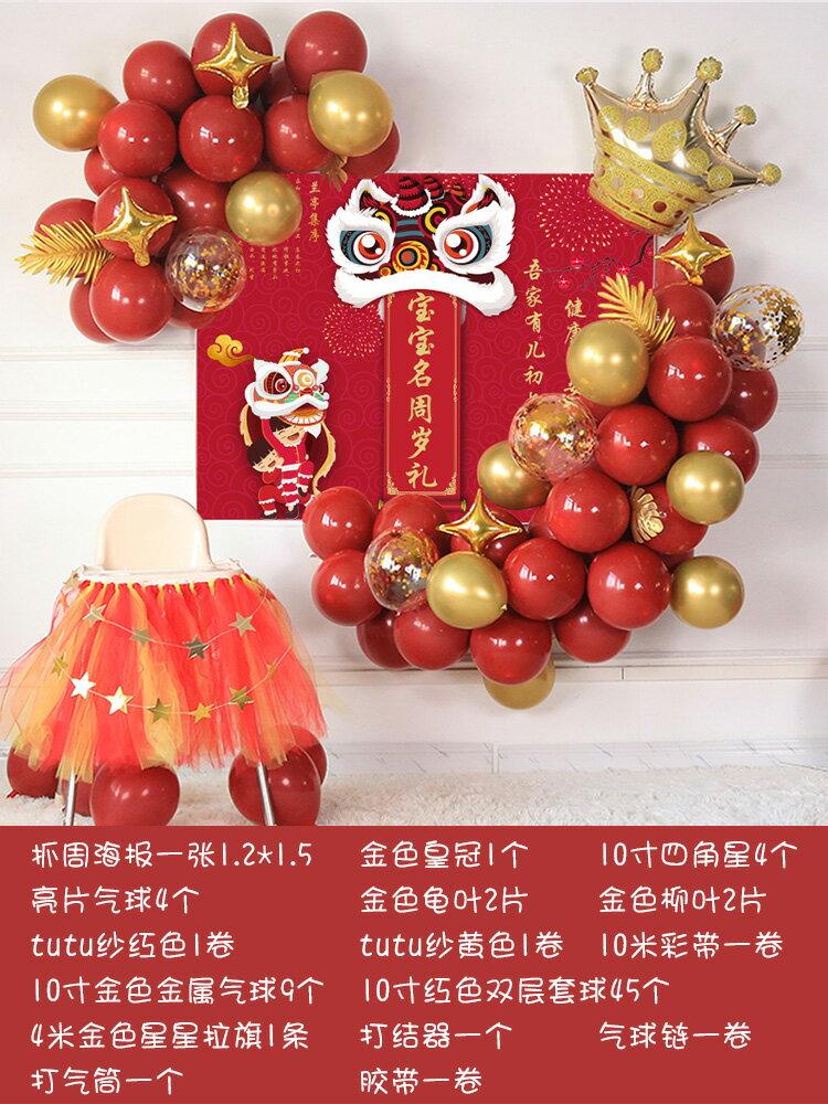 氣球 氣球派對 生日布置寶寶抓周裝飾氣球一周歲宴定製背景牆百天女寶寶氣球套餐『CM43359』
