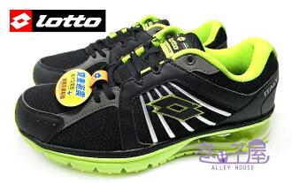 【巷子屋】義大利第一品牌-LOTTO 男款6大機能雙避震炫彩跑鞋 [1065] 黑綠 超值價$690