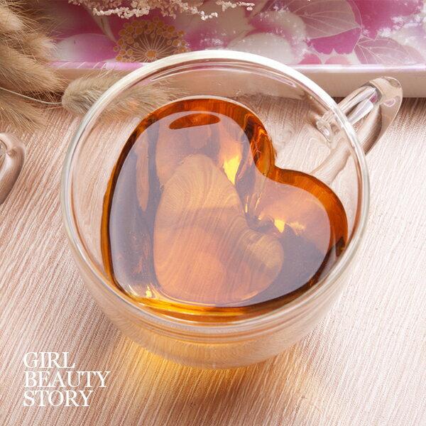 SISI【G7004】心型(小款)雙層隔熱茗茶杯高硼矽玻璃耐熱隔熱茶杯咖啡杯心型杯