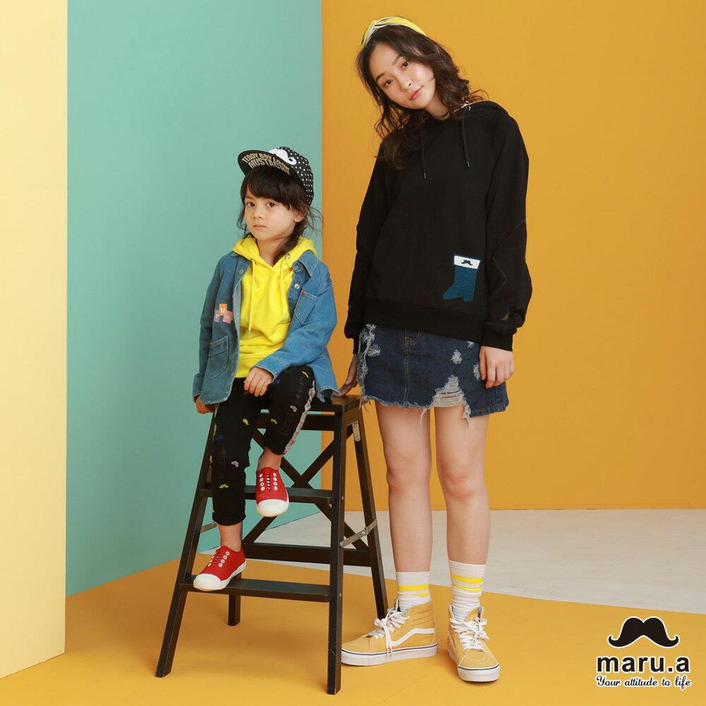 【maru.a】親子款連帽靴子繡花袖子網紗簍空休閒T-shirt(2色)8921216 / 8951211 1