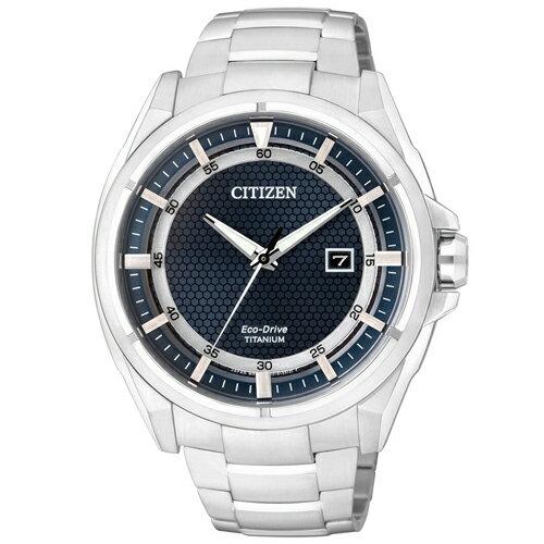 CITIZEN 星辰錶 Eco-Drive AW1401-50L 雙層環道日期顯示鈦金屬腕錶-藍x銀