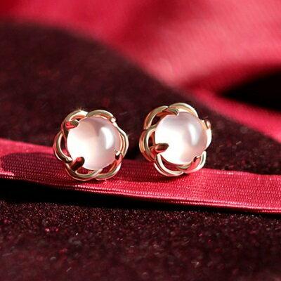 玫瑰金純銀耳環鑲鑽耳飾~簡約大方甜美風生日情人節 女飾品73dz46~ ~~米蘭 ~