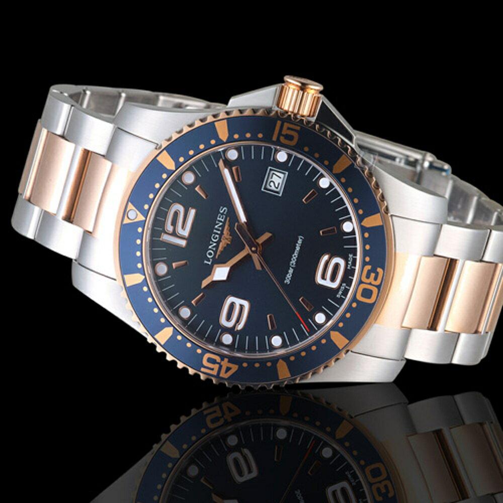 LONGINES 浪琴錶 深海征服者300米潛水石英錶 L37403987 玫瑰金x銀 1