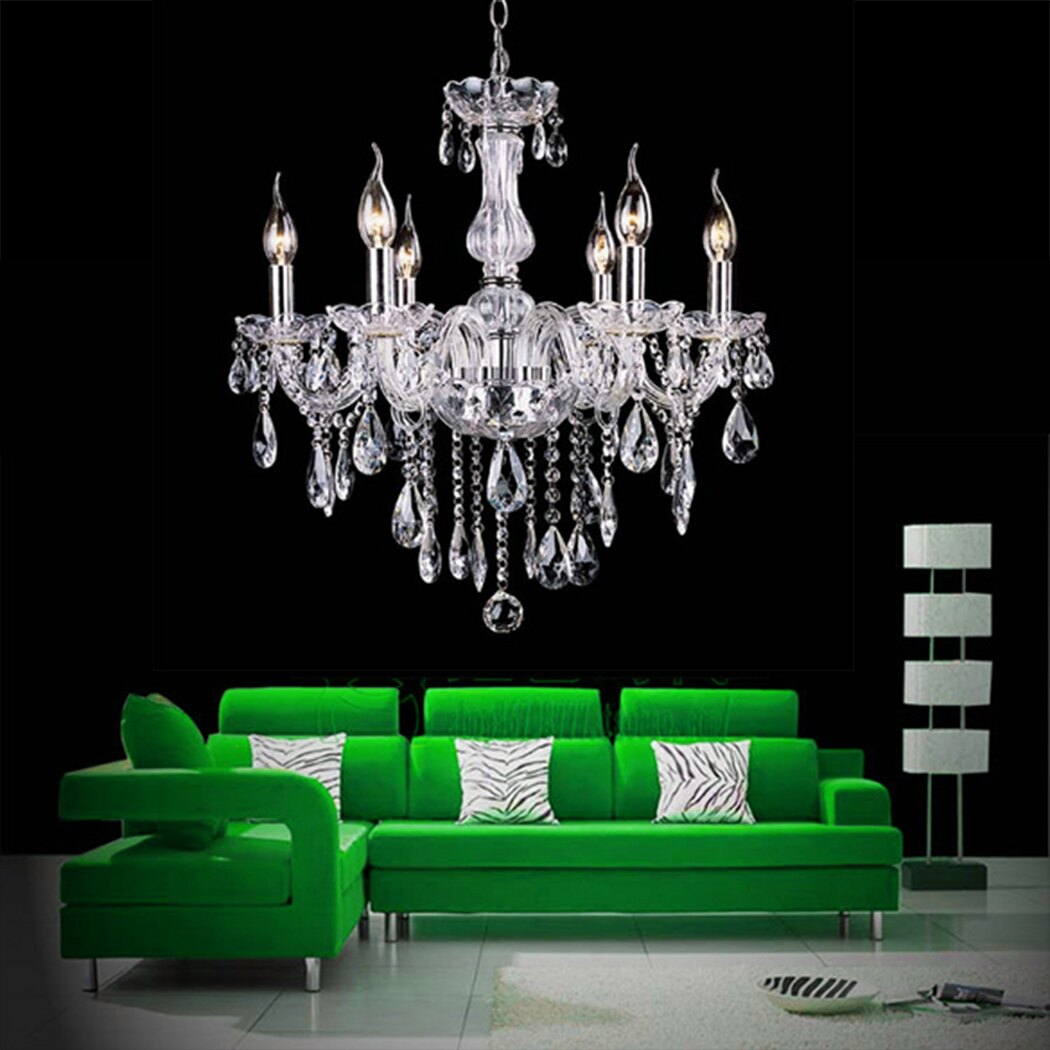 Crystal Lamp Fixture Pendant Light Ceiling Chain Candle Chandelier 2