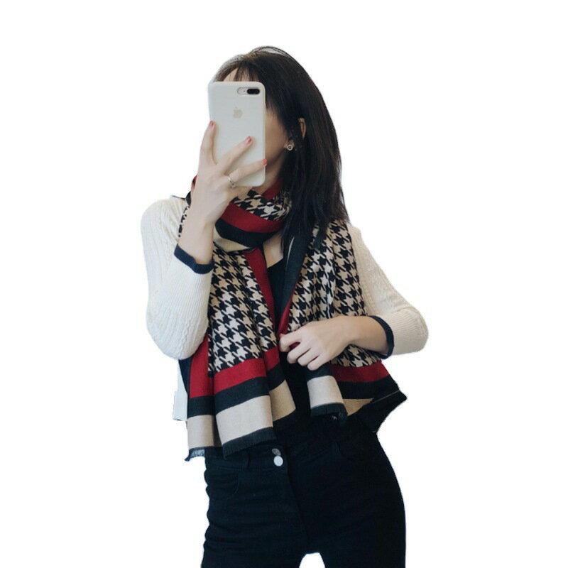 韓版蝴蝶結千鳥格披肩二用超大圍巾保暖圍巾