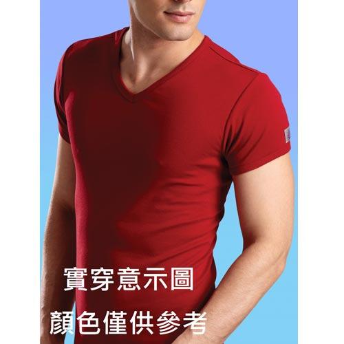 PROMAN豪門彩色羅紋V領短袖衫地中海藍色XL