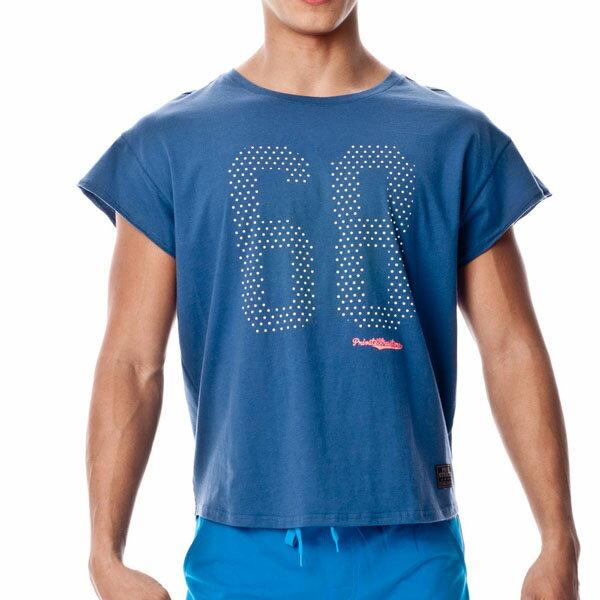 P.S 數字系列-68舒適圓領短袖T恤(海藍色),T恤,141MT1833N1,Private Structure