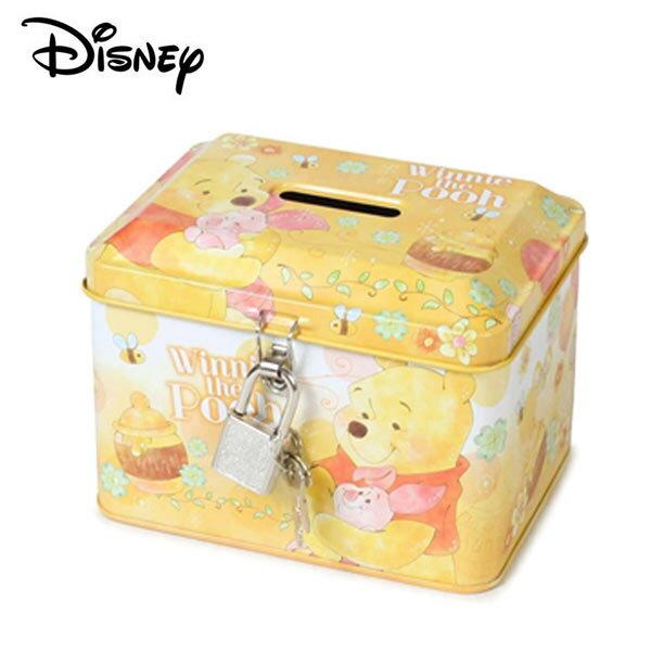 【日本正版】小熊維尼鐵盒存錢筒小費盒收納盒附鑰匙可上鎖Winnie迪士尼Disney-063178