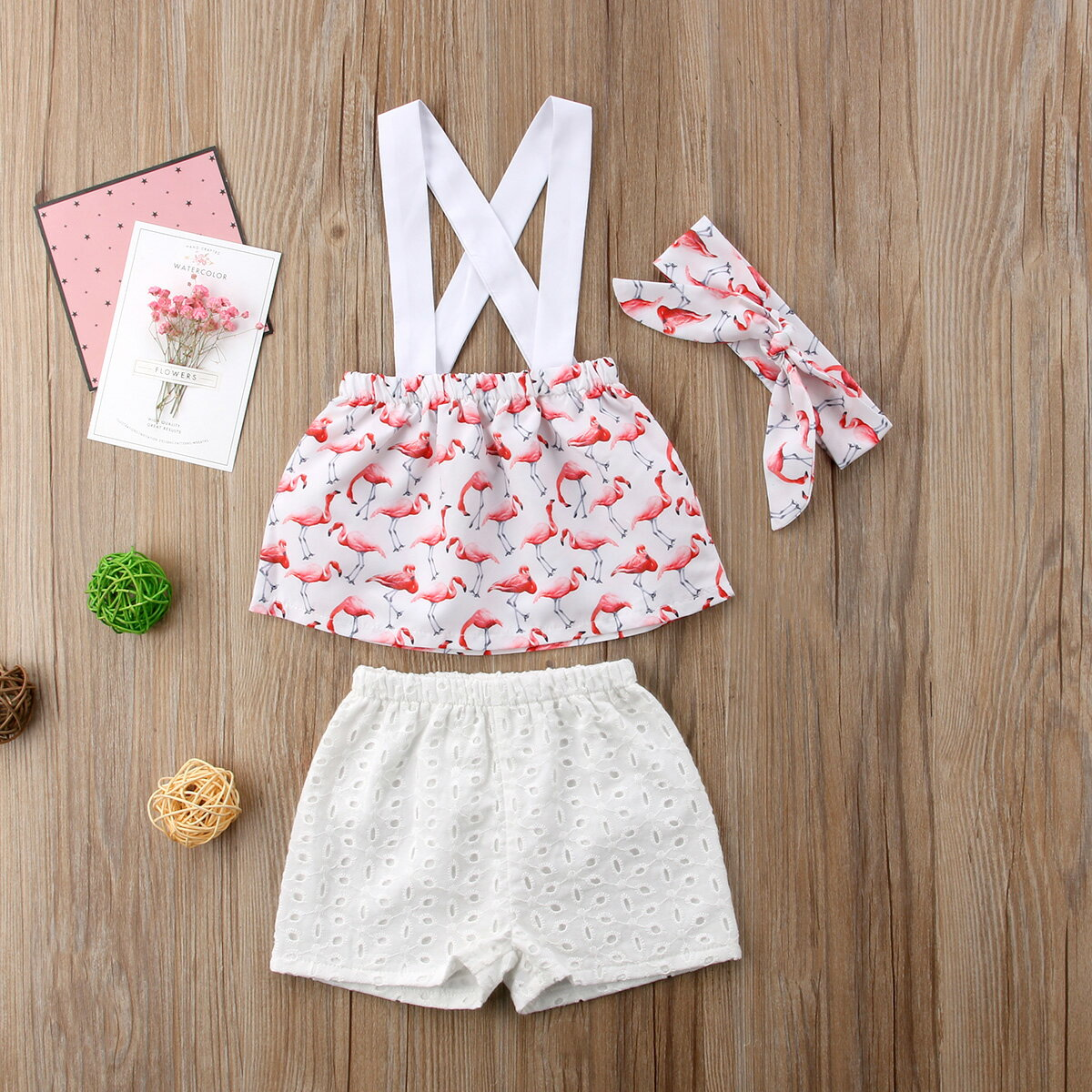 e025a0b92fb568 Summer Newborn Baby Toddler Girls Flamingo Tops Shorts 3Pcs Outfits Set  Clothes 0