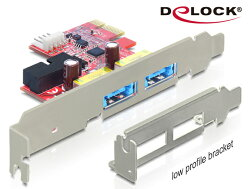 [富廉網] Delock PCI express擴充卡4 in 1多功能連接埠 (USB 3.0 USB Type A母頭 + eSATAp連接埠) x2 - 89288