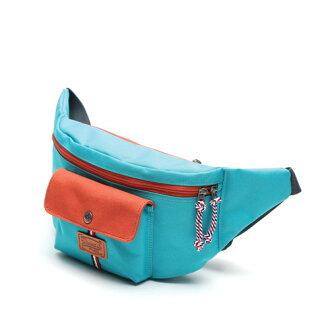 斜肩包 韓國AFRICA RIKIKO拚色休閒包 斜背包 單車包 運動包 NO.140 Mint+Orange - 包包阿者西