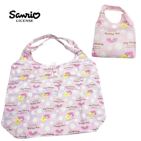 粉色款【日本進口】美樂蒂 My Melody 摺疊 購物袋 環保袋 手提袋 防潑水 三麗鷗 Sanrio - 437480