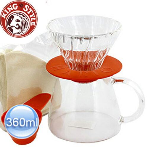 金時代書香咖啡 HARIO V60玻璃濾杯咖啡壺組珊瑚色1~2杯 VGS-3512-CO 360ml