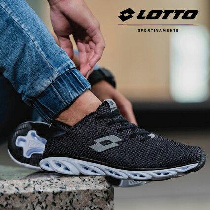【巷子屋】義大利第一品牌-LOTTO樂得男款AIRFLOW-RELAXED記憶鞋墊風動跑鞋[5500]黑超值價$590