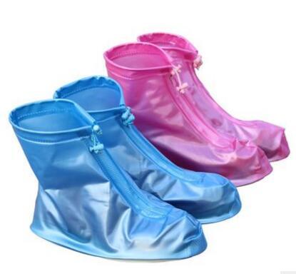 【葉子小舖】防水雨鞋套/男女款防水鞋套/防滑加厚雨鞋套/防水套/粉藍咖啡三色/兩件式雨衣/止滑/耐磨