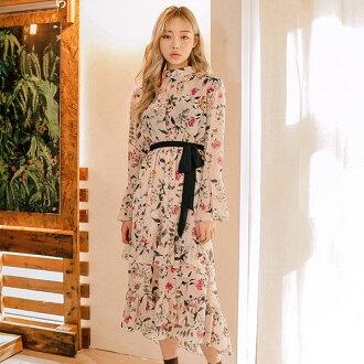 PS Mall韓版花漾碎花收腰綁帶長袖連身裙 連身洋裝【T547】