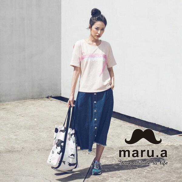 【maru.a】ORIGINALS文字印花特色絲帶T-sirt(4色)7911226 7