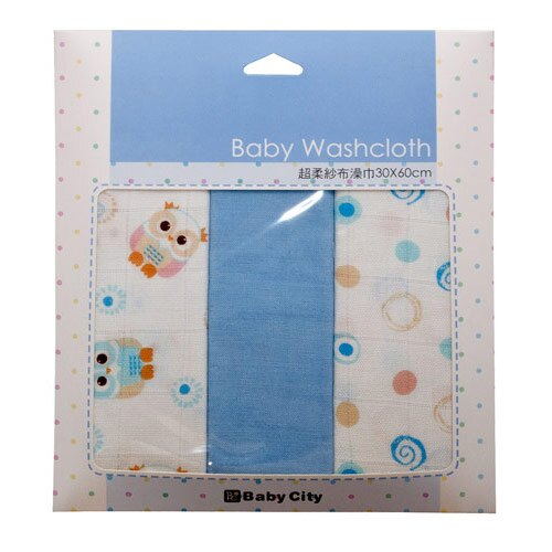 台灣【Baby City】超柔紗布澡巾3入-4色 2