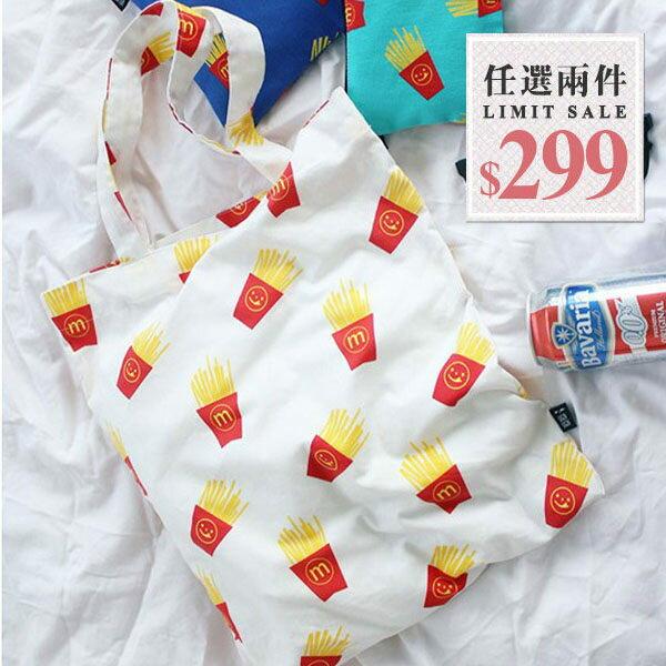 帆布兩用包-韓國小清新滿版鳳梨 薯條 雙層帆布包/肩背包/側背包 可放A4【AN SHOP】