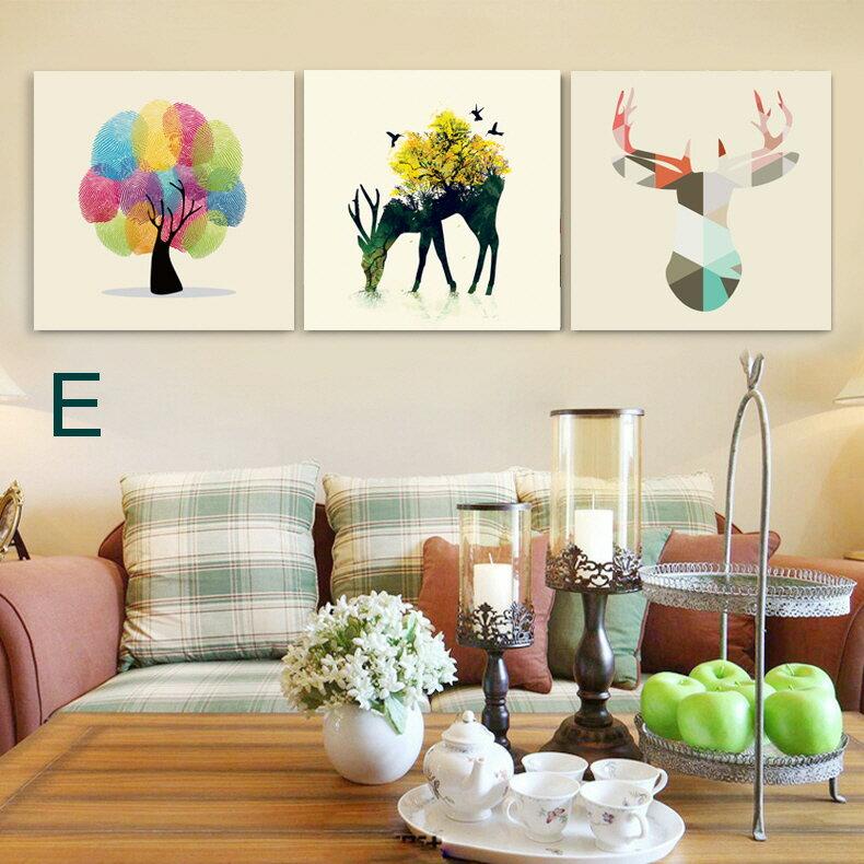 掛畫三件組【RS Home】北歐麋鹿無框掛畫相框木質壁畫裝飾畫板民宿攞飾油畫掛鐘掛畫 4