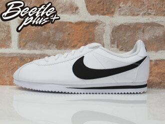 女生 BEETLE PLUS 現貨 NIKE CORTEZ (GS) 阿甘鞋 慢跑鞋 全白 黑勾 白黑 復古 749482-102 D-587