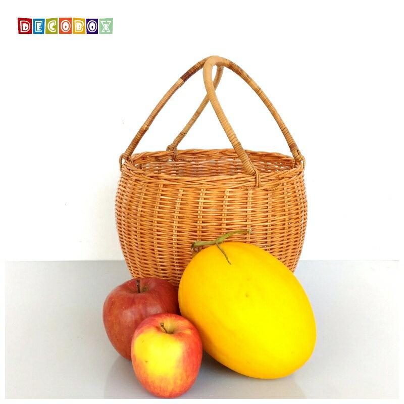 DecoBox鄉村風圓筒小藤籃(宴王,野餐, 洗衣藍,收納籃)