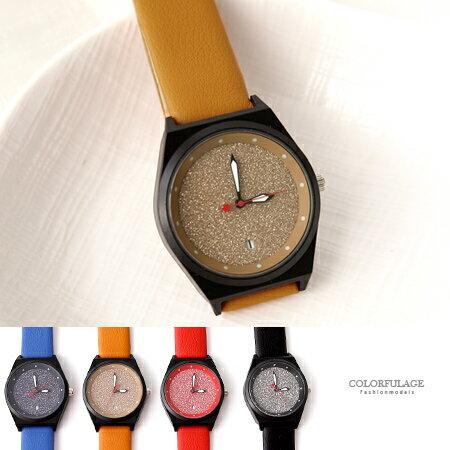 手錶 精緻黑色霧面錶殼銀粉面板皮革手錶腕錶 極推 錶款 柒彩年代~NE1843~單支售價