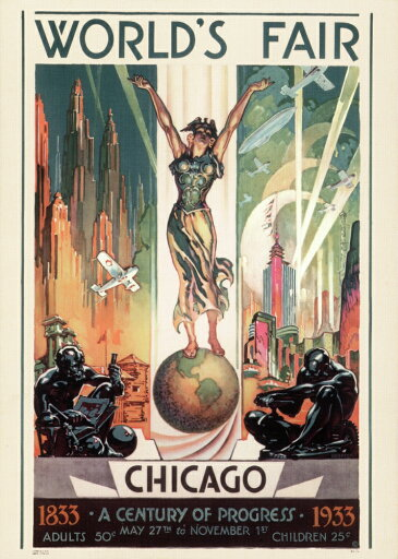 Chicago WorldS Fair 1933 Nlithograph Poster For The 1933 Chicago WorldS Fair Rolled Canvas Art - (18 x 24) 71854611bedf283cc2335956aab9f9eb