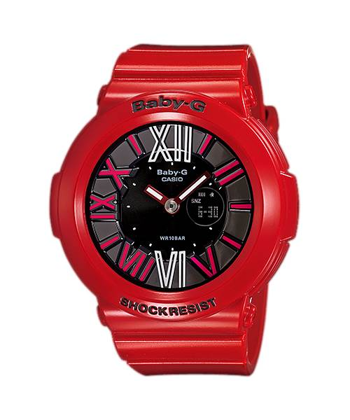 【CASIO】BABY-G 螢光霓虹懸浮時刻腕錶-紅X黑(BGA-160-4B)