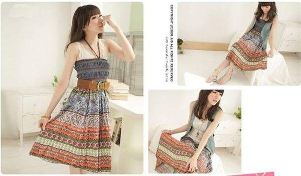 波西米亞亞麻洋裝 / 長裙 (可兩穿)【27103】藍色巴黎 《 5色》現貨+預購 6