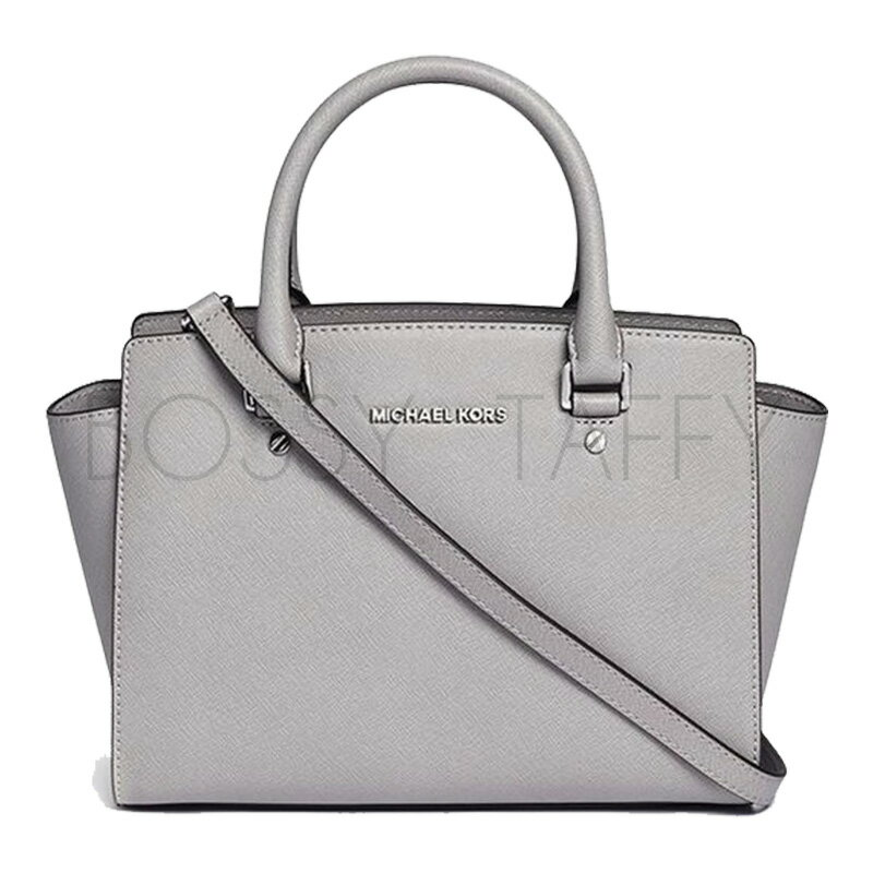 MICHAEL KORS 30S3GLMS2L 珍珠灰皮革中號手提斜背梯型托特包 Selma Saffiano Leather Medium Satchel pearl grey