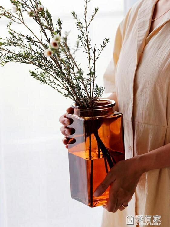 簡約方形玻璃花瓶ins風透明北歐水培瓶擺件插花器客廳彩色干花瓶