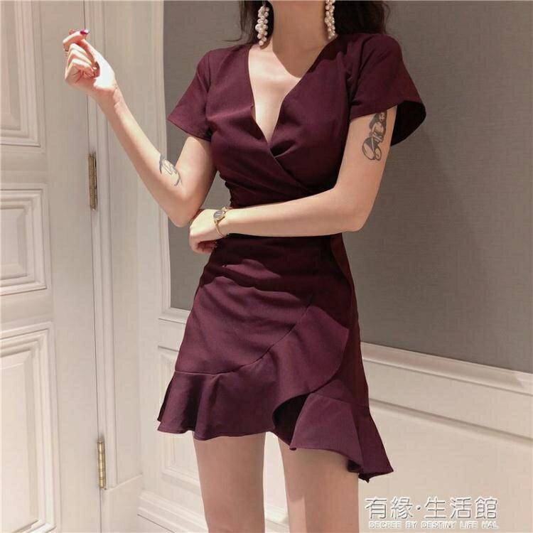 年夏季新款韓版百搭純色氣質V領收腰顯瘦不規則荷葉邊洋裝